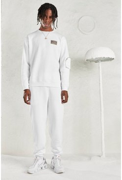 White MAN Tracksuit with Sleeve Pocket