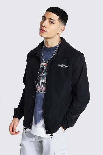 Black MAN Official Branded Woven Coach Jacket