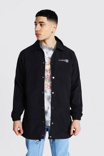 Black MAN Official Branded Woven Longline Coach Jacket