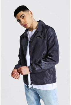 Charcoal grey MAN Official Branded Nylon Coach Jacket