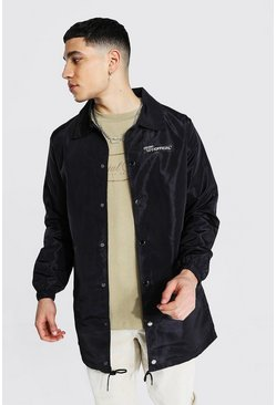Black MAN Official Branded Nylon Longline Coach Jacket