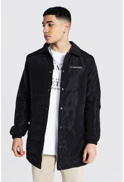 Black MAN Official Nylon Longline Coach Jacket