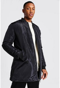 Bomber larga de nailon, Negro