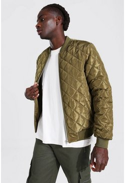 Khaki Quilted Bomber