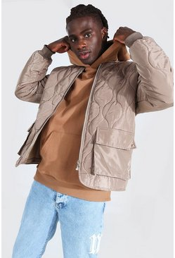 Stone beige Quilted Multi Pocket Bomber