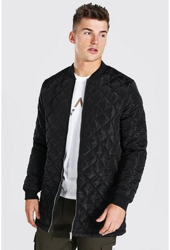Black Longline Quilted Bomber