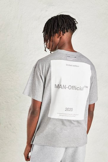 Grey MAN Oversized Tee with Large Back Print