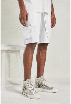 White Relaxed Short With Utility Pocket