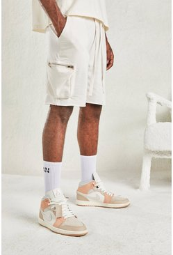 Beige Relaxed Short With Utility Pocket