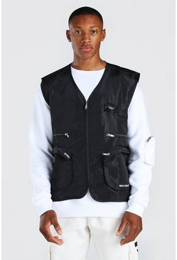 Black Man branded tab utility vest