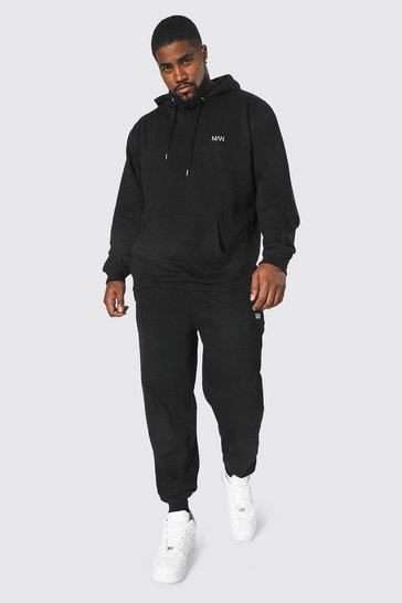Black Plus Size MAN Dash Hooded Tracksuit