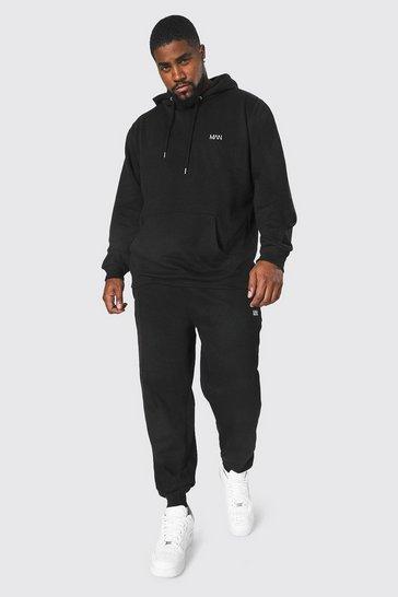 Black Plus Size MAN Dash Hooded Tracksuit