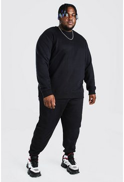 Black Plus Size Basic Sweater Tracksuit