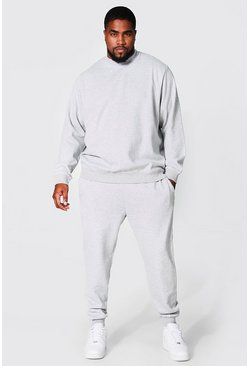 Grey marl Plus Size Basic Sweater Tracksuit