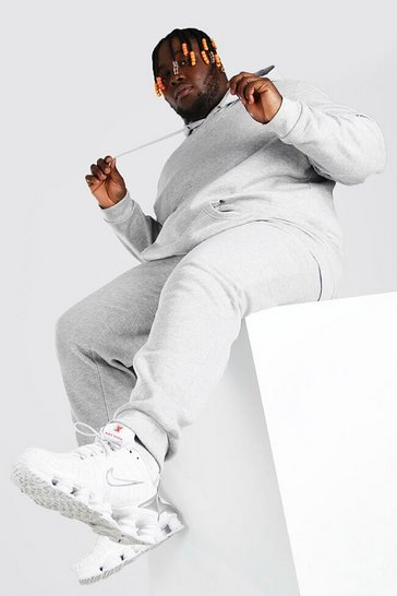 Grey marl grey Plus Size Basic Hooded Tracksuit