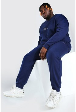 Navy Plus Size MAN Script Sweater Tracksuit