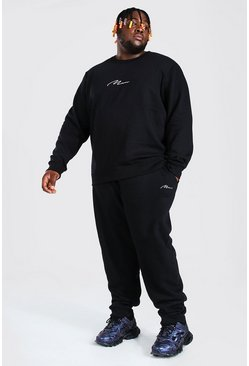 Black Plus Size MAN Script Sweater Tracksuit