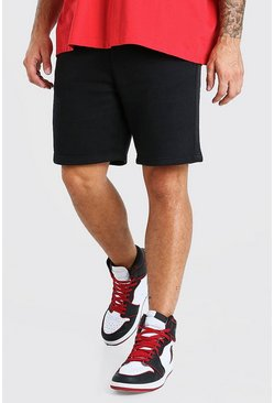 Black Mid Length Jersey Short With Side Tape