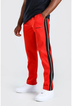 Red MAN Official Tricot Joggers With Side Tape