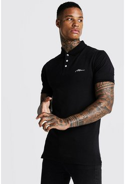 Longline Poloshirt in Muscle-Fit mit MAN-Stickerei, Schwarz