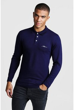 Navy MAN Signature Muscle Fit Long Sleeve Polo