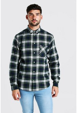 Navy marinblå Long Sleeve Brushed Check Shirt
