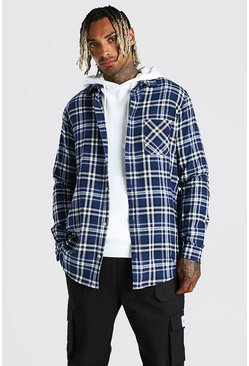 Blue blå Long Sleeve Long Line Check Shirt
