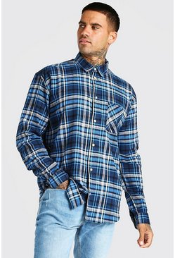 Blue Long Sleeve Oversized Flannel Shirt