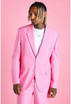 Pink Relaxed Plain Suit Jacket