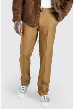 Chestnut Relaxed Plain Belt Detail Smart Trousers