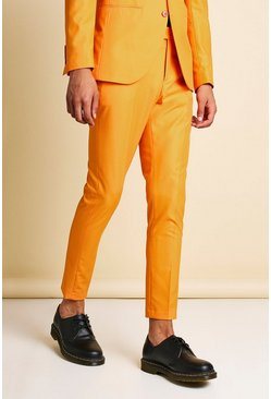Pantalon de costume court coupe super skinny uni, Orange
