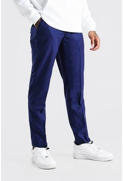 Navy Slim Plain Elasticated Cuff Smart Trouser