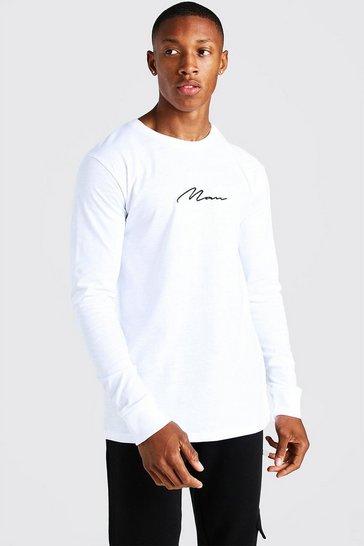 White MAN Signature Long Sleeve T-Shirt
