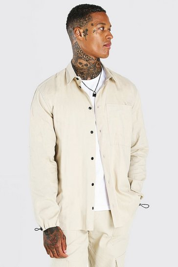 Stone beige Oversized Twill Shirt With Toggle Cuff
