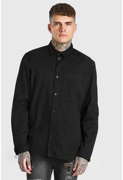 Black Oversized Twill Shirt With Toggle Cuff