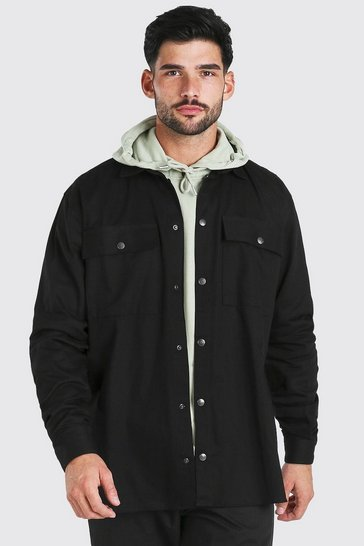 Black Oversized Twill Shirt