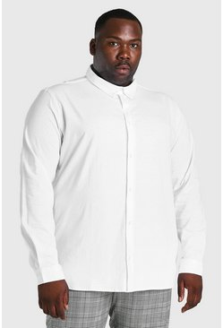 White Plus Size Long Sleeve Jersey Shirt