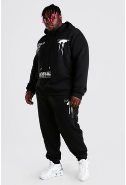 Black Big And Tall MAN Graffiti Hooded Tracksuit