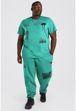 Green Plus Size Official MAN Graffiti T-Shirt Set