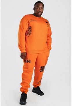 Orange Plus Size MAN Graffiti Sweater Tracksuit