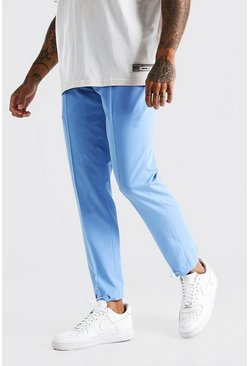 Blue Slim Plain Elasticated Cuff Smart Trouser