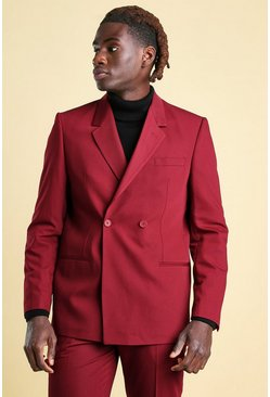 Wine red Boxy Plain 2 Button Double Breasted Suit Jacket