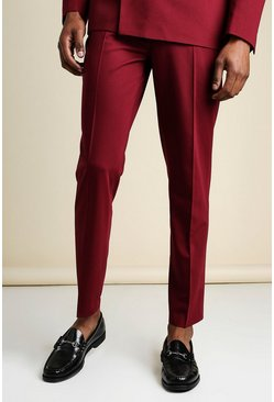 Wine red Slim Plain Suit Trousers With Chain