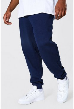 Navy Plus Size Basic Skinny Fit Joggingbroek