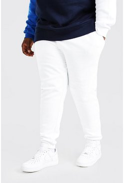 White Plus Size Basic Skinny Fit Joggingbroek