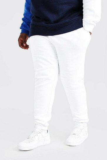 White Plus Size Basic Skinny Fit Jogger