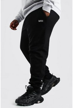 Zwart black Plus Size Man Dash Slim Fit Joggingbroek