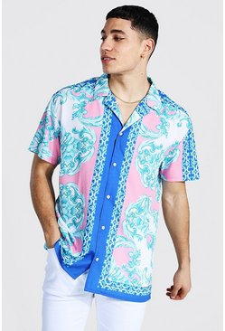 Pink Oversized Short Sleeve Baroque Border Shirt