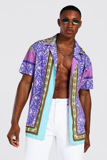 Lilac purple Oversized Ss Revere Baroque Border Shirt