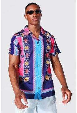 Black Short Sleeve Revere Baroque Border Shirt